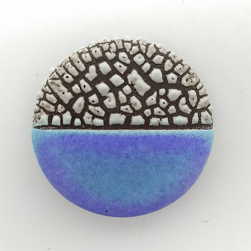 Purple Blue Ceramic Brooch Front View