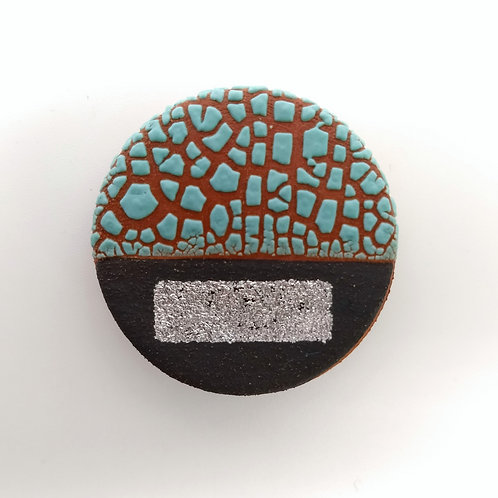 Turquoise Silver Black Terracotta Brooch Front View