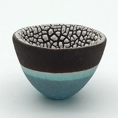 Sea Blue Black Clay Bowl With Textured White Glaze