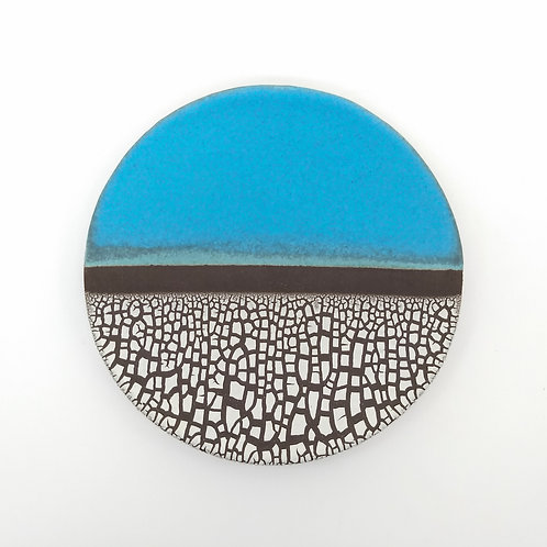 Decorative Turquoise and White Plate from above