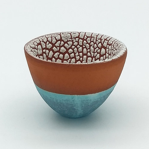 Terracotta White and Aqua Glazed Bowl