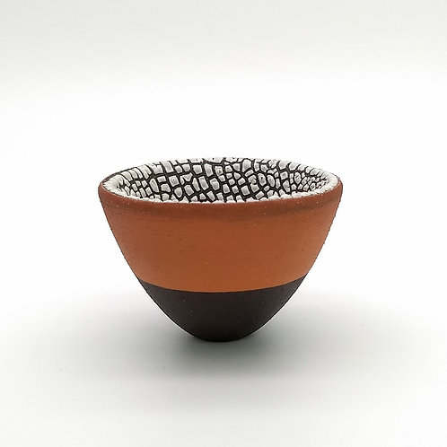 Black Bowl Terracotta Slip White Glaze Side View