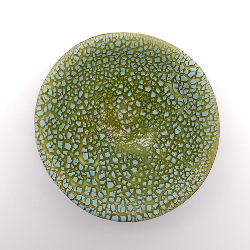 Lime Green and Turquoise Dish Top View