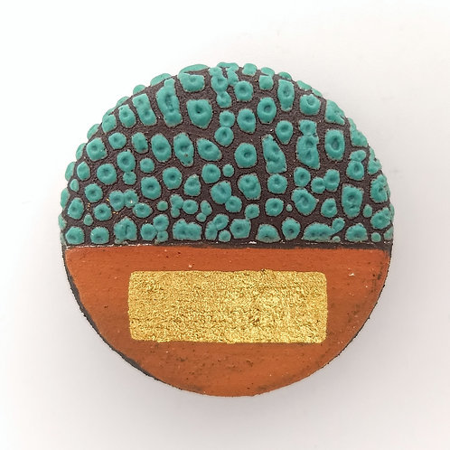 Black Clay Terracotta Slip Deep Green Textured Glaze Brooch Front View