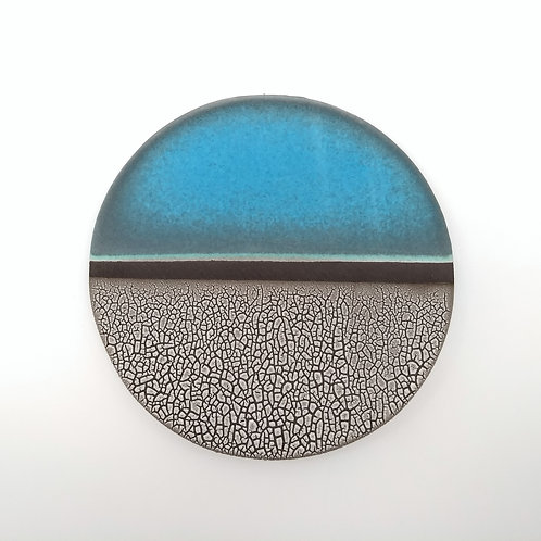 Turquoise White Plate Front View