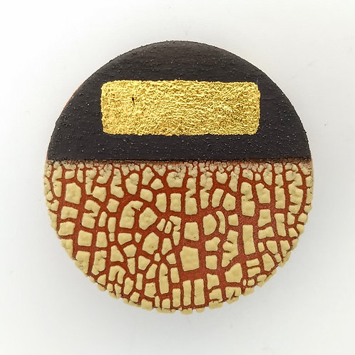 Deep Yellow Terracotta Brooch Gold Leaf Front View