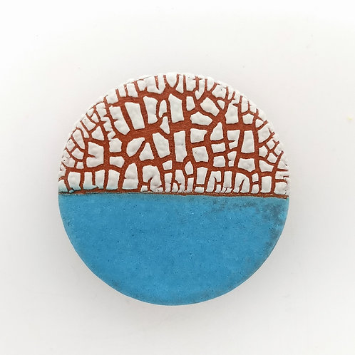 Turquoise and White Textured Glaze Terracotta Brooch Front View