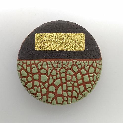 Terracotta Brooch Spring Green Glaze Gold Leaf Front View