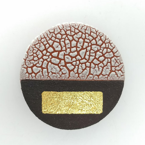 White Texture Glaze, Black and Gold Brooch