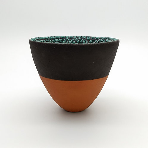 Black Clay Terracotta Slip Green Glaze Bowl Side View 1