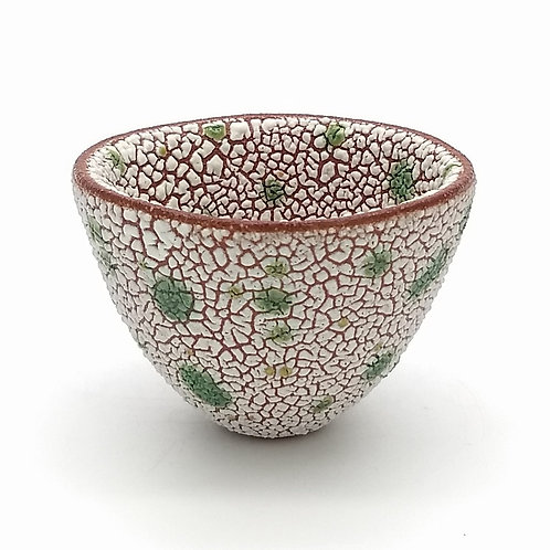 Decorative White and Moss Green Glazed Bowl