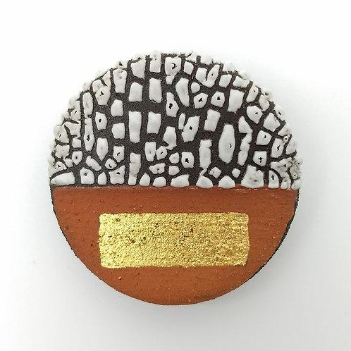 Black Clay Terracotta Slip White Glaze Gold Leaf Brooch Front View
