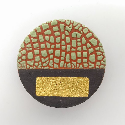 Spring Green Glazed Gold Leaf Ceramic Brooch Front View