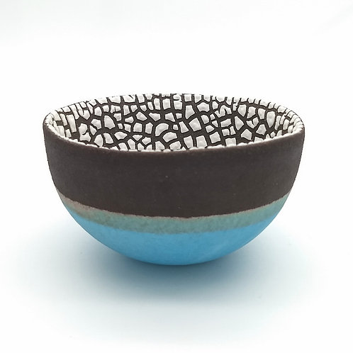 Black Clay Turquoise White Bowl Side View 1
