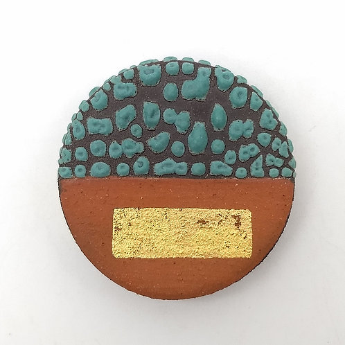 Deep Green Texture Glazed Black Clay Brooch, Gold Leaf Detail