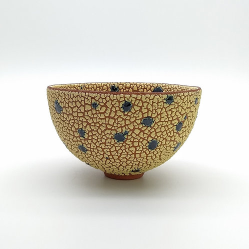 Yellow Blue Footed Bowl Side View 1