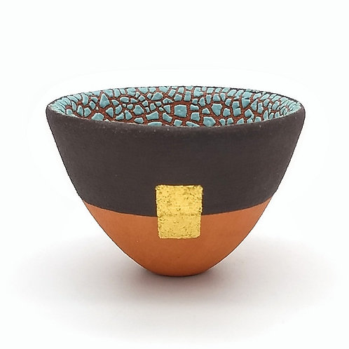 Turquoise Crawling Glaze Bowl Gold Leaf Front View