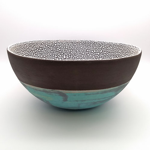 Large Turquoise White Bowl Side View