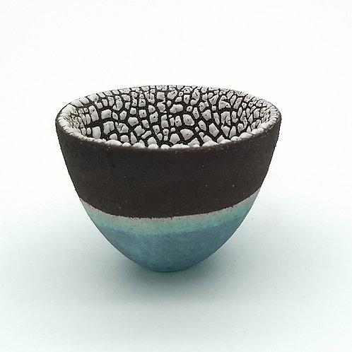 Black Clay, White and Aqua Glazed Bowl