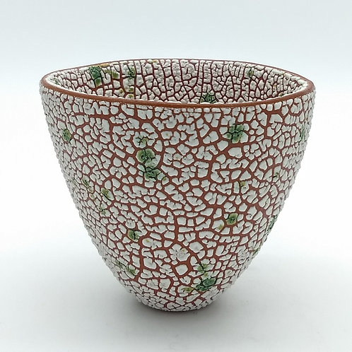 White and Green Textured Decorative Ceramic Bowl