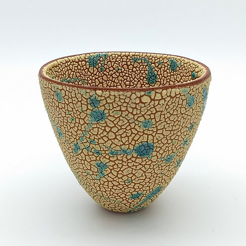 Yellow Turquoise Decorative Terracotta Bowl Front View