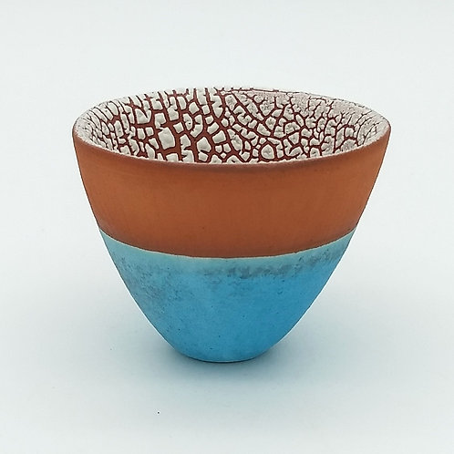 Textured White and Turquoise Terracotta Bowl