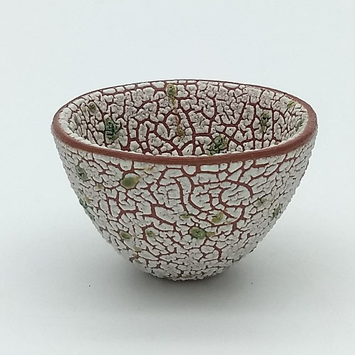 White Texture Glaze and Green Glaze Splashed Terracotta Bowl