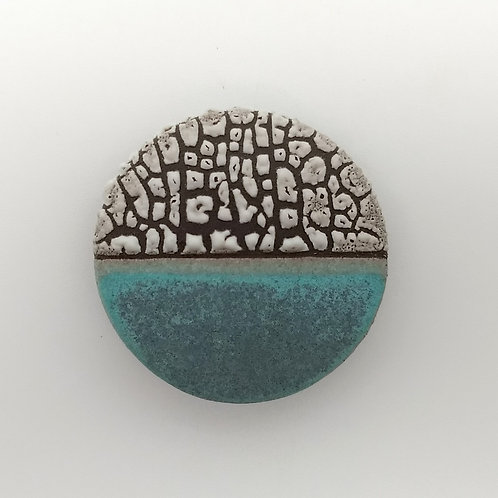 Turquoise Grey Black Clay Brooch Front View