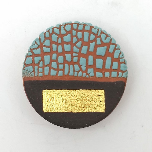 Textured Turquoise Glazed Terracotta Brooch with Gold Leaf
