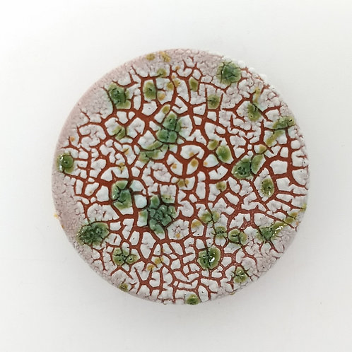 Green Glaze Splashed White Texture Glaze Ceramic Brooch