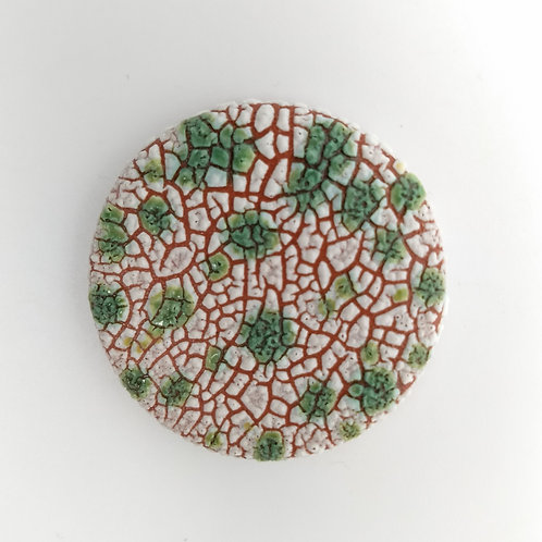 Terracotta Brooch White Green Glazes Front View