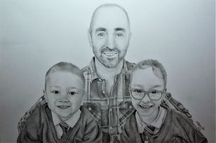 Life Like Realistic Graphite People Family Drawing Portrait