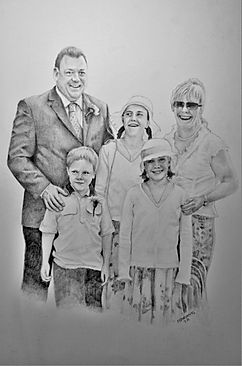 Life Like Graphite People Family Portrait Drawing Commission