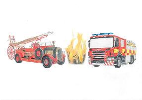 Colour Pencil Fire Engine Drawing Portrait Commission Logo