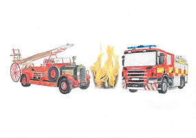 Colour Pencil Fire Engine Drawing Portrait Commission Logo
