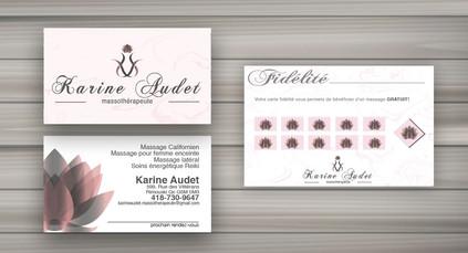 Carte de visite et carton fidélité pour Karine Audet, massothérapeute réalisé dans Illustrator CC