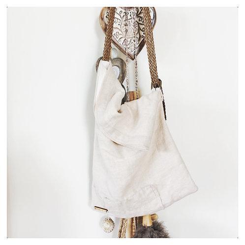 Linen messenger style tote bag