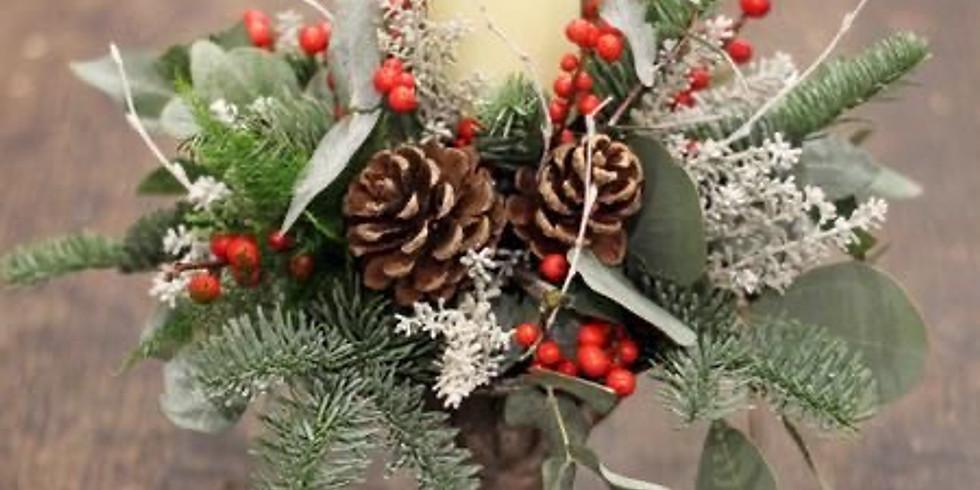 centrotavola natalizio con candela