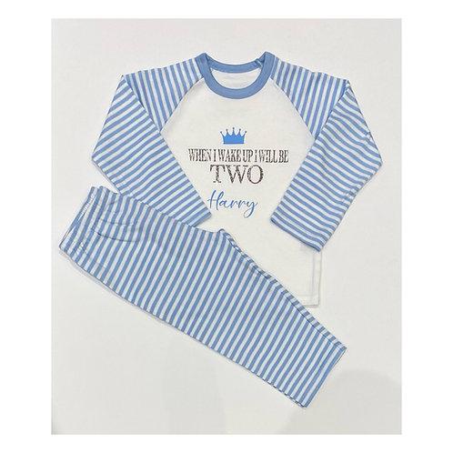 """When I wake up I will be"" BLUE Children's Personalised Pyjamas"