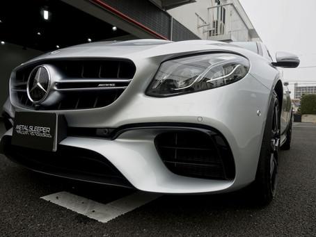Mercedes-AMG E63SのボンネットにプロテクションフィルムPPF施工/メッキパーツ、リップスポイラーにカーラッピング/東京都八王子K様