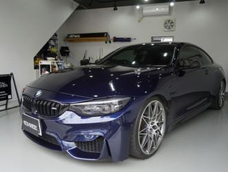BMW M4のヘッドライトにプロテクションフィルムPPF施工/神奈川県相模原市P様