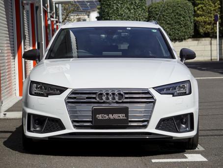 Audi A4 Avantのルーフレール、ウインドーモール、サイドミラー、リップスポイラー、サイドステップにカーラッピング②/神奈川県高座郡S様