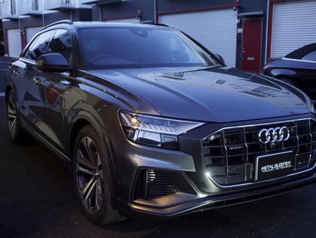 Audi Q8のルーフレール、ウインドーモール、フロントグリル、リップスポイラー、アンダーガード、リヤデュフューザーにカーラッピング②/神奈川県平塚市I様