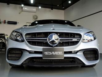 Mercedes-AMG E63Sのフロントバンパー、フェンダー、ヘッドライトにプロテクションフィルムPPF施工/東京都八王子K様