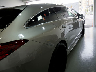 Mercedes-Benz The CLA ShootingBrekeのウインドウモール、フロントバンパーにカーラッピング/ドアピラーにプロテクションフィルム施工/神奈川県相模原市Y様