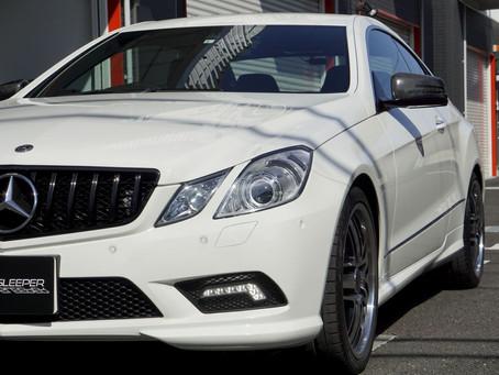 Mercedes-Benz E-CoupeのヘッドライトにプロテクションフィルムPPF施工/トランクスポイラーにカーラッピング/東京都八王子O様