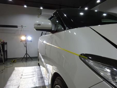 エスティマACR50のサイドストライプとアンダーラインのインストール/東京都町田市I様②
