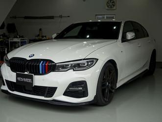 BMW3seriesSedanのドアミラー、リップスポイラー、ホイールにカーラッピング/神奈川県相模原市Y様