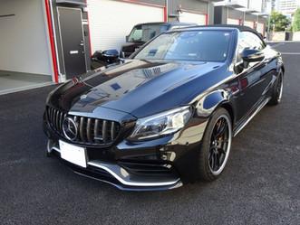 AMG C63s Cabrioletのドアミラーとトランクスポイラーにカーラッピング/神奈川県横浜市Y様