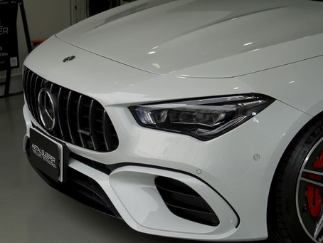 Mercedes-AMG CLA 45のリップスポイラー、サイドステップ、トランクスポイラーにカーラッピング/キックパネル周辺にプロテクションフィルム施工②/神奈川県横浜市N様